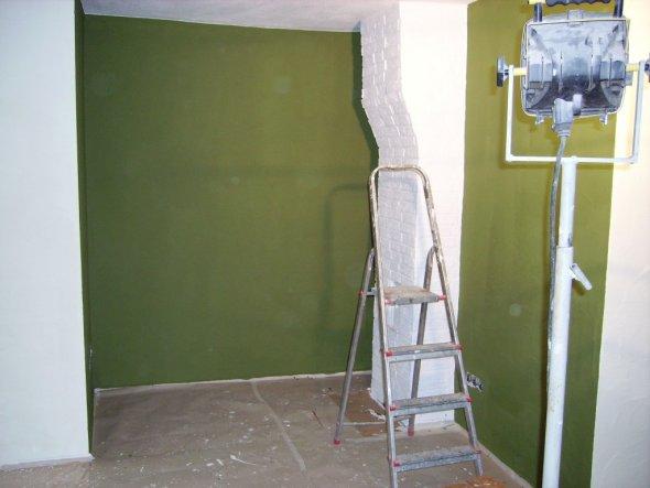 so das ist unsere Ecke noch ziemlich leer aber das grün ist perfekt.