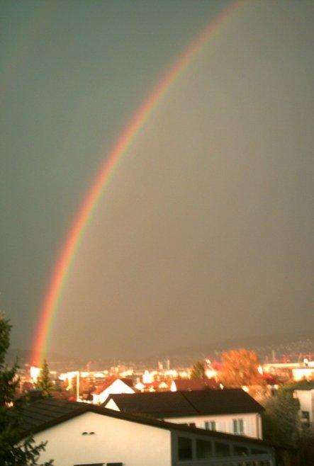 Ich liebe Regenbogen. Da unsere Schlafzimmerfenster nach Südosten liegen, sehen wir mindestens 3-4 mal im Jahr einen!