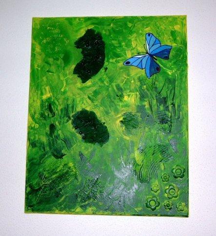 """ich fand dieses Bild bringt so richtig den Frühling ins Haus und deshalb heisst es natürlich """"Frühling"""". Gespachtelt und gemalt mit Acrylfar"""