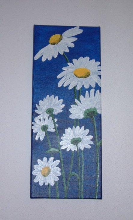 """""""Margheriten"""" mein erstes Bild, nur mit Pinsel gemalt."""