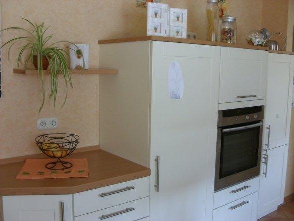 Küchen-Ausschnitt Kühlschrank, Backofen, Vorratsschrank. Über dem Herd in dem Fach ist die Mikrowelle versteckt. Das Fach geht nach oben zu öffnen.