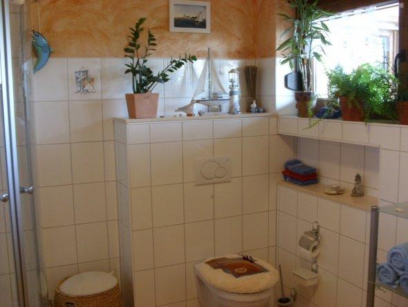 Bad-Ausschnitt Glas-Runddusche (ganz re.), Hänge-WC