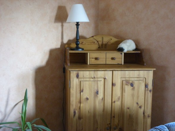 Wohnzimmer-Ausschnitt Eckschrank Kiefer gelaugt/geölt