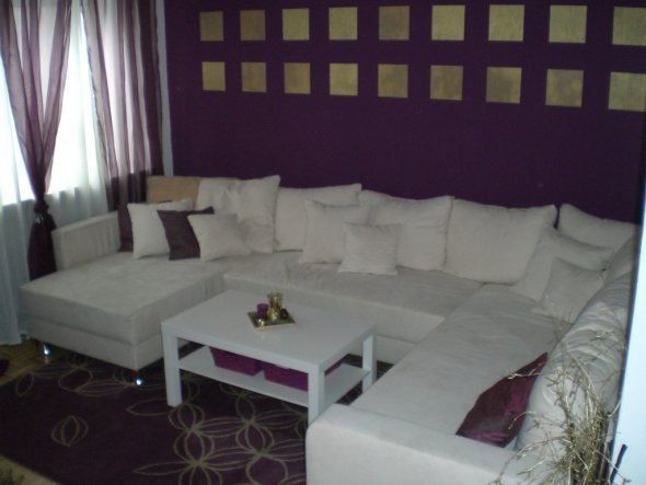 Wohnzimmer Lila Weiss