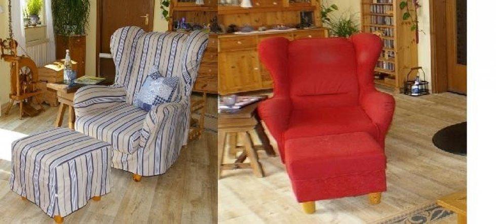 So langsam wurde der Sessel schäbig und passte ja auch so gar nicht mehr zum Rest. Deshalb habeich einen neuen Bezug genäht, wie auch schon beim Sofa.