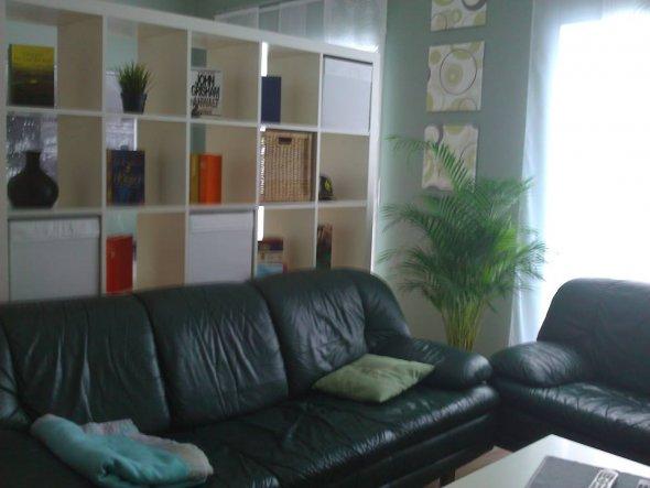 Durch Raumteiler ein zusätzliches Wohn- bzw. Fernsehzimmer mit Gästeteil geschaffen.