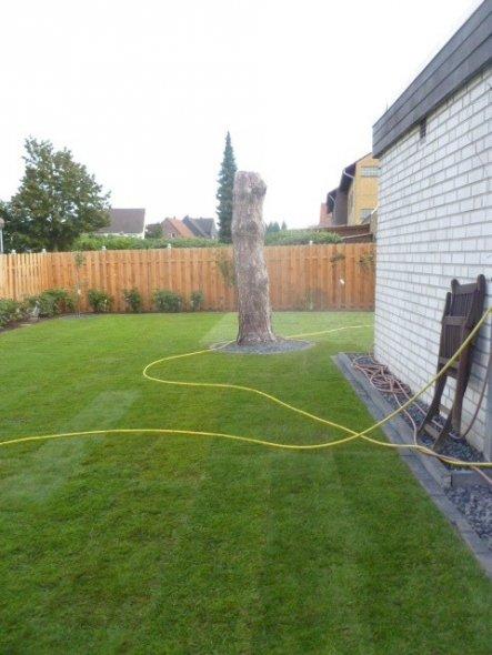 Der neue Rasen ist verlegt, inkl. Kant und Rasensteinen, der Zaun steht ;) das Baumhaus hat noch Zeit