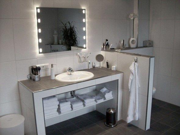 Waschtisch gemauert und Abtrennung zum WC