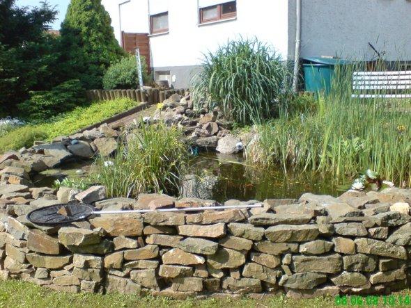 Mein Teich im Hang gebaut mit Naturstein Mauer