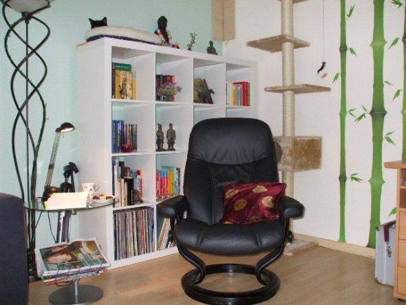 Unser Wohnzimmer ist ein Multifunktionsraum. Hier sieht man z. B. die Leseecke gleichzeitig auch Katzenbett.