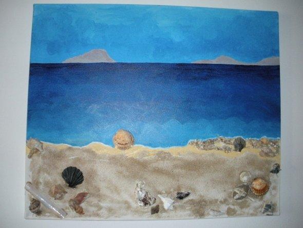 Sammelstücke vom Strand wurden hier mit echtem Sand zu einem Bild.