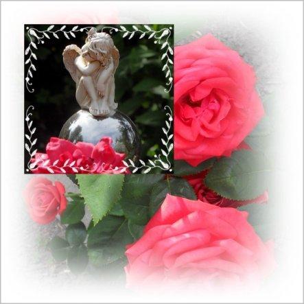 Ein träumender Engel an roter Rose.