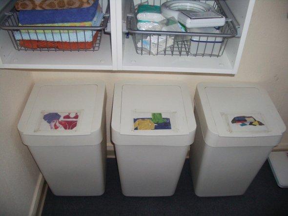 Die Sammelstation für Schmutzwäsche.