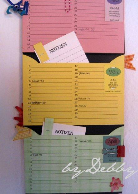 Für jeden Monat habe ich ein Notizkärtchen gemacht, wo besondere Dinge vermerkt werden wie z.B. Todestage etc.