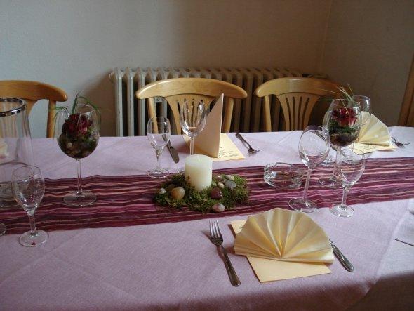 Tischdeko zur Komfirmation meines Neffens. Gefeiert wurde in einem Gastbetrieb, die Deko wurde von mir übernommen.