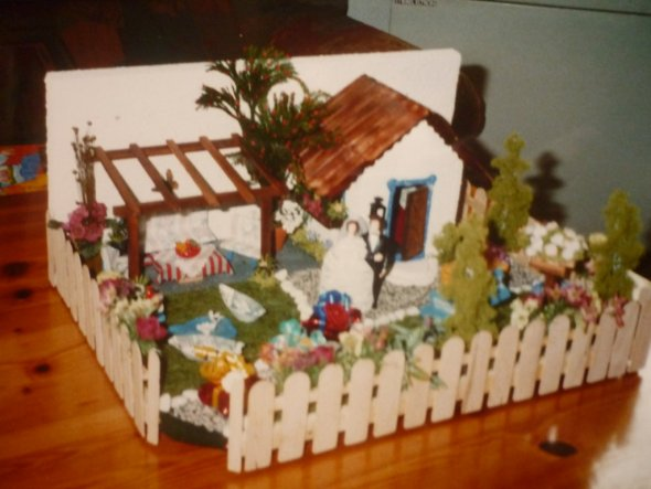 Zur Hochzeit meiner Cousine habe ich ihre Gartenanlage vor Jahren nachgebaut.