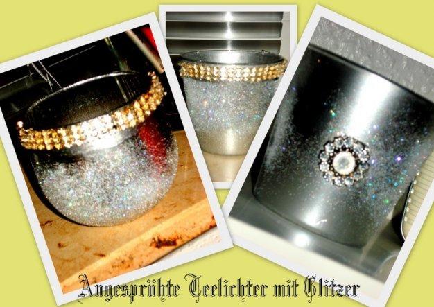 Habe die Glasgefäße angesprüht und mit Glitzer bestäubt:-)))und ein paar Steinchen drauf.:-)))