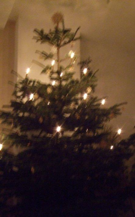 Und hier mit Kerzen. Haben uns bewusst für dezenten und natürlichen Baumschmuck entscheiden...