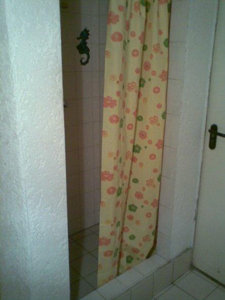 Die alte Schiebetür ausgebaut und neu mit Duschvorhang.