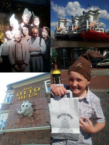 """in Emden MUSS man natürlich """"dat Otto Huus"""" besuchen.... Jacq und Caitlin haben sich zum Spaß vieler Passanten eine Zwergen-Zipfel-Mütze auf"""