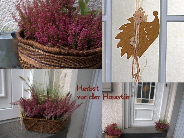 Oktober 2012: Ein Igelchen hängt in der Haustür ;-) und in den Körben stehen Erika und Heidekraut...mit Kastanien und Co.