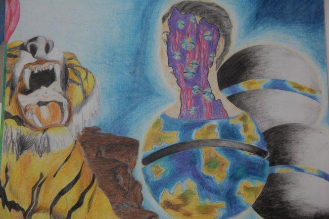 Eigenkreation-Buntstift- Surrealismus a la Dali :-)