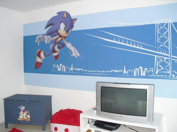unsere Wandgestaltung zum Thema Sonic.