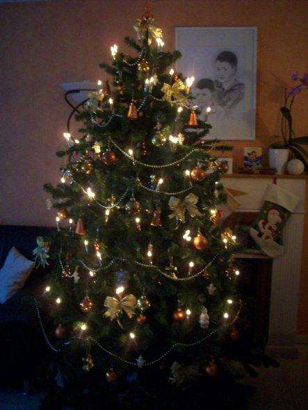 Tannenbaum im Wohnzimmer, reicht fast bis zur Decke, ist mit gold, aprikot und braunen Kugeln verziehrt, hat kleine weiße Engel, goldene Schleifen und