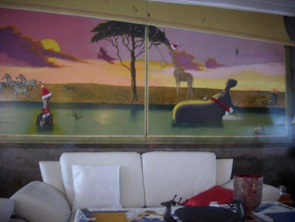 """Großes Wandbild """"Ausblick in die  Savanne"""" gemalt 2006 gemalt von Leo Sauer von mir weihnachtlich geschmü"""