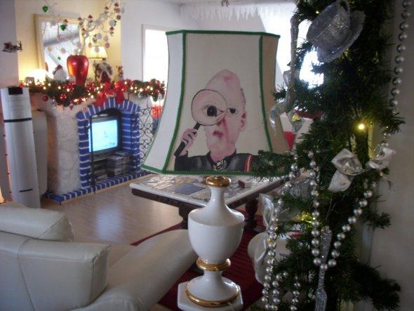 Ausblick von der Küche - den Lampenschirmdetektiv hab ich selbst gemalt