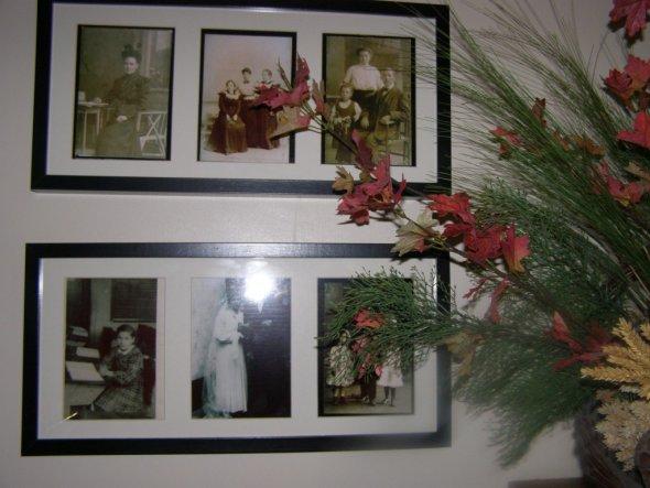 Ahnengallerie, auf den Bildern sind meine UrUrgrossmutter, meine Urgrossmutter mit ihren Schwestern, Meine Oma und ihre Eltern, meine Mutter in der Sc