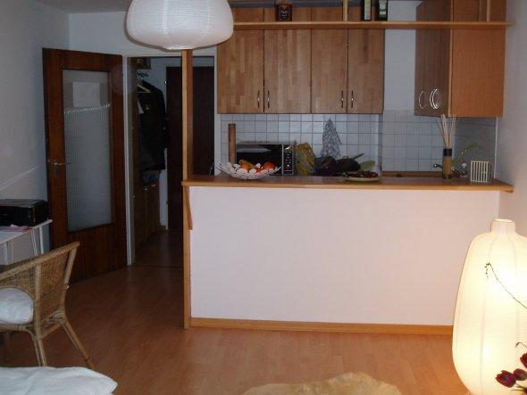 Blick vom Wohn-/ Schlafbereich in die offene Mini-Küche.