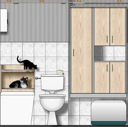 Entwurf Nieschenschrank und Katzenschlafplatz (der wird noch gebaut)