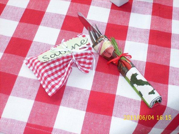 kleines Säckchen genäht und mit Süßigkeit gefüllt für einen lieben Gast