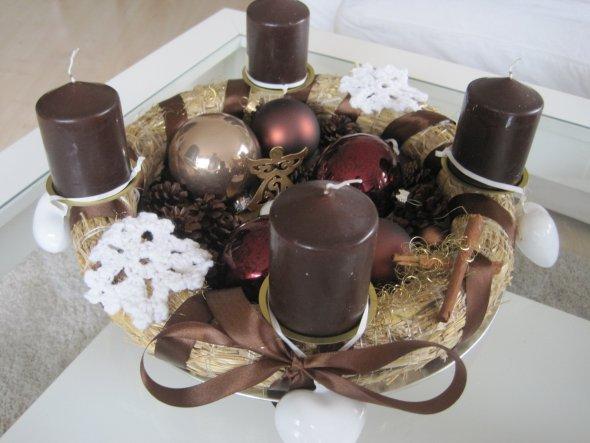 Adventskranz 2012 - dieses Mal in braun und selbstgemacht