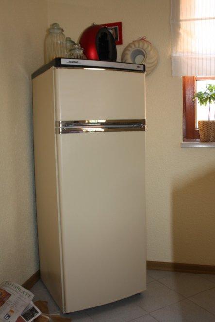 Der Kühlschrank in neuem Farbkleid passend zur Wandfarbe.