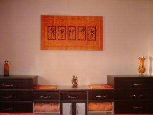 Orange-Rotes Schlafzimmer