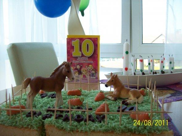 Das ist der Pferdekoppel Kuchen meiner Tochter zum 10. Geb. 2011.