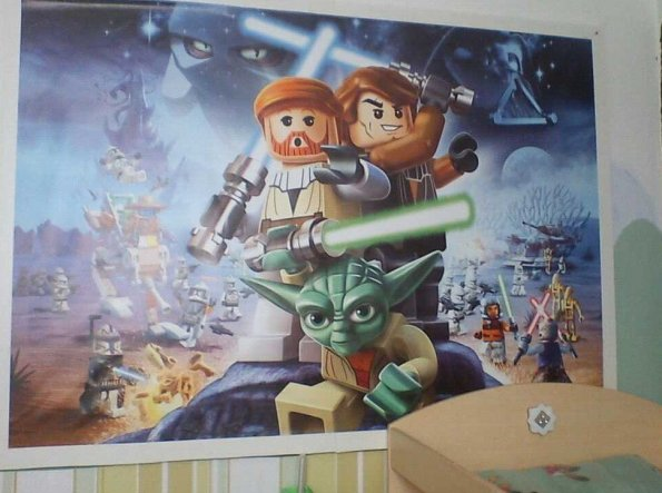 """mario musste weichen :( nun hängt da ein grossen """"brett"""" mit einer Lego Star wars tapete :)"""
