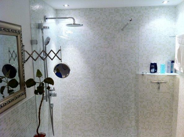 Regenkopfbrause, Dusche und Thermostatventil von HANSGROHE. Man könnte ENDLOS lange darunter stehen! ;-)