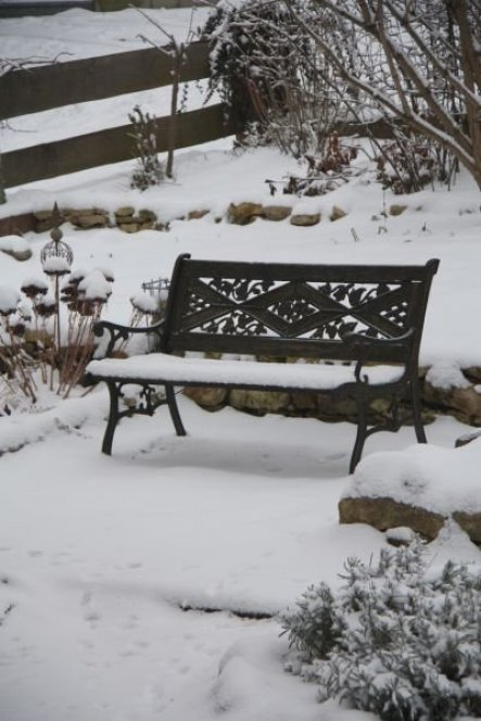 ... die Gartenbank im Januar 2013 ...
