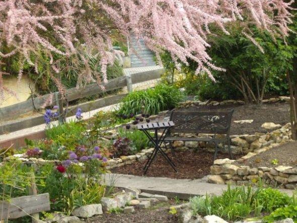 Der Sitzplatz im Frühjahr 2012 - im Vordergrund die blühende Frühlingstamariske