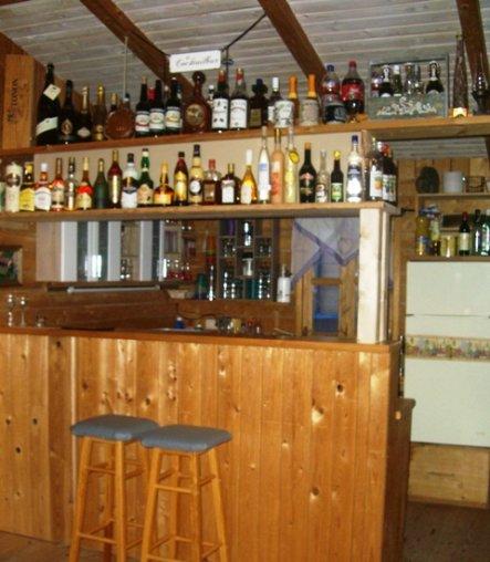 Die Theke läd zum Cocktail mixen ein und bietet viel Platz und Arbeitserleichterung durch Spülmaschine, Herd und Kühlschränke