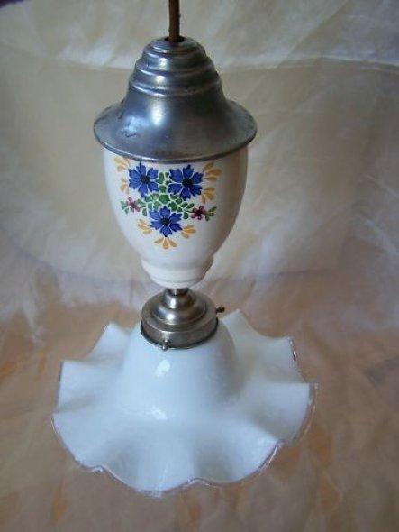 Antike , Retro Pendelleuchte,Deckenleuchte, Lampe Glas.Das silberne möchte ich noch weißeln.