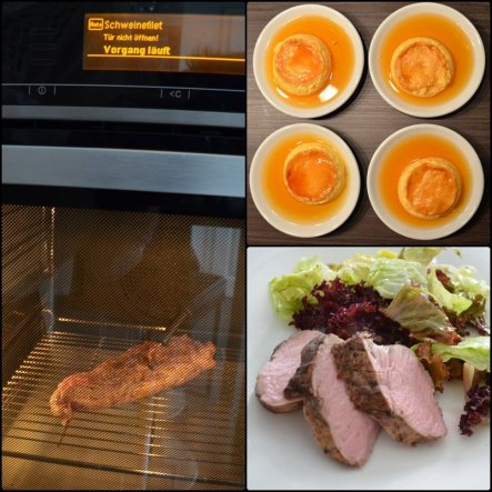 Chrinette hat es geschafft mich doch mehr in der Küche aufzuhalten. Bzw. Aufmerksamer, intensiver ;-) Schweinefilet mit Salat (einfach). Desser