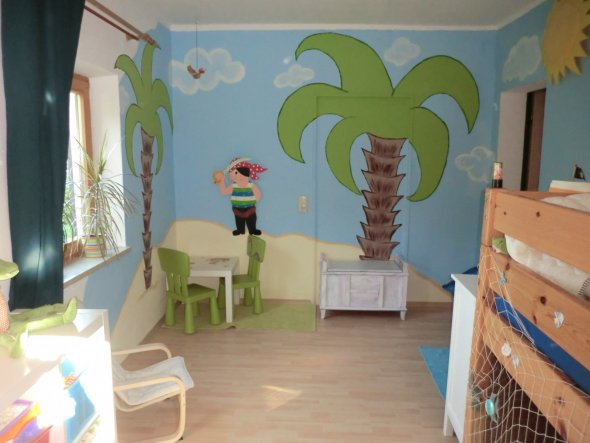 Kinderzimmer bord?re selber malen  Kinderzimmer Piratenzimmer