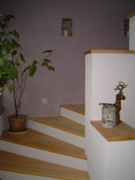 Hier sieht man die Treppe und unsere Stufenförmige Abtrennung nach unten. Viel Platz für Deko :-)