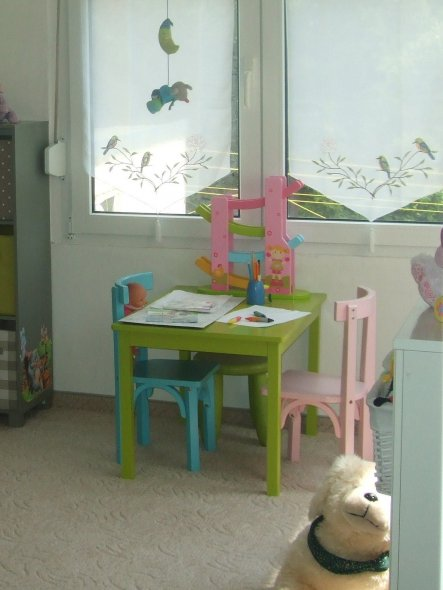 ein Platz an der Sonne...der gern genutzte Tisch zum Malen, steckern & auch kochen