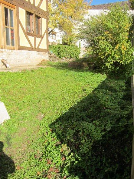 Grten vor dem Haus mit süd-östlicher Ausrichtung. Hinten führt über eine kleine Natursteintreppe ein kleiner Weg in die Sackgasse der Hofstrasse - sch