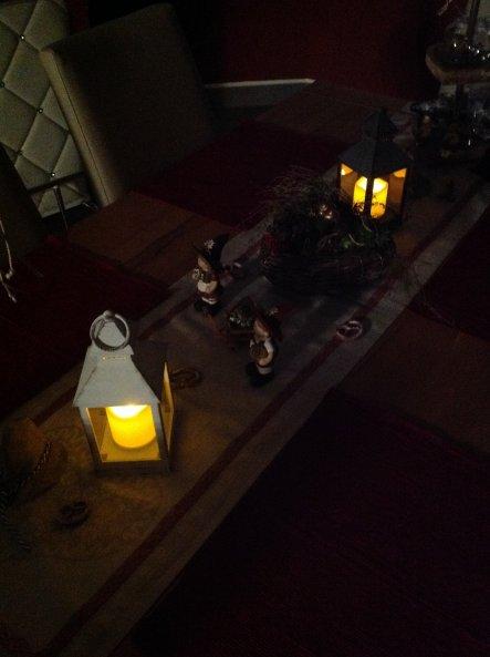 Tischdeko im Dunkeln